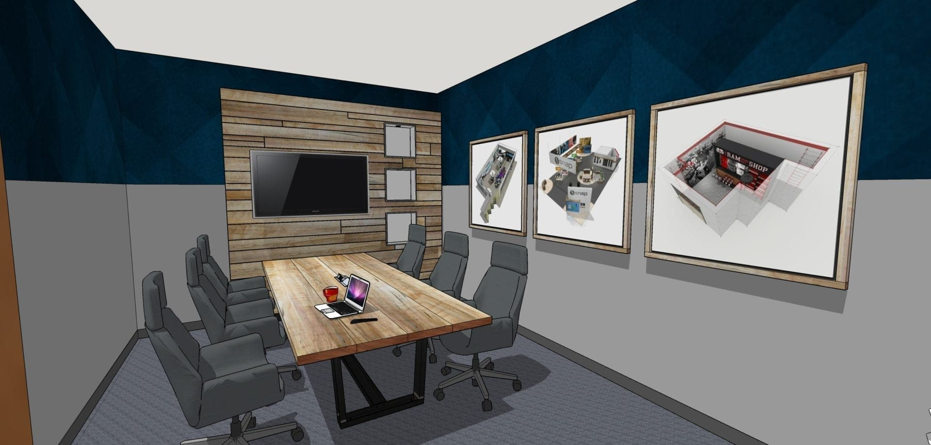 3D digital render of interior design concept for a conference room in Raleigh, NC, created by Holt Environments