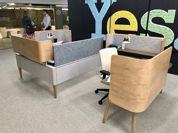 Corporate office interior design desk space and space dividers