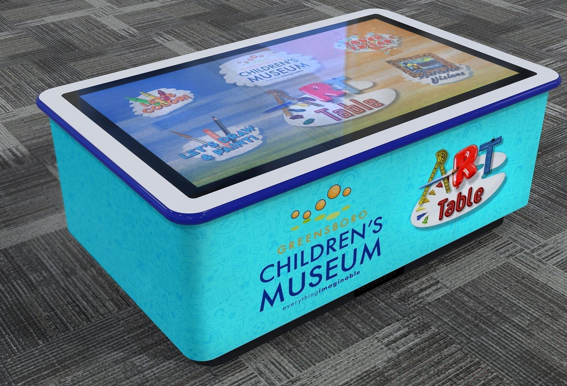 3D digital concept full color render of custom interactive art table at Greensboro Children's Museum