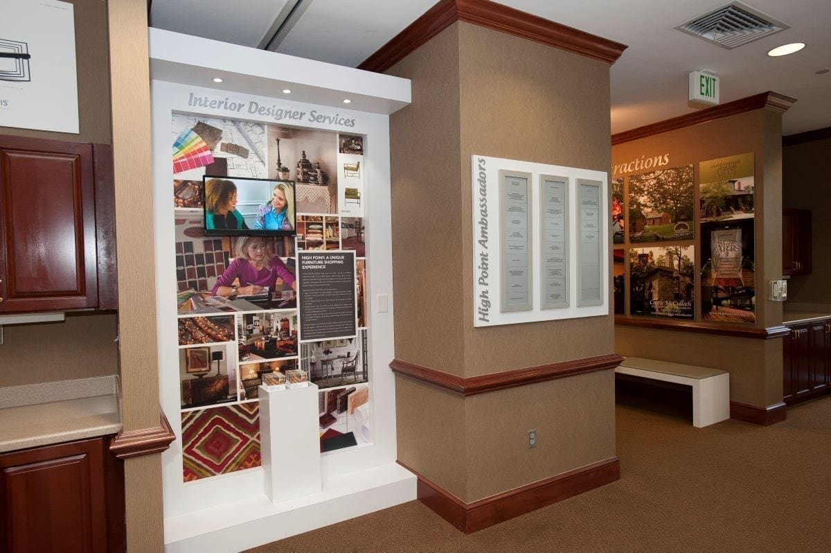 High Point, NC, Visitors Center interior design with LED lit custom millwork partitions and wall displays