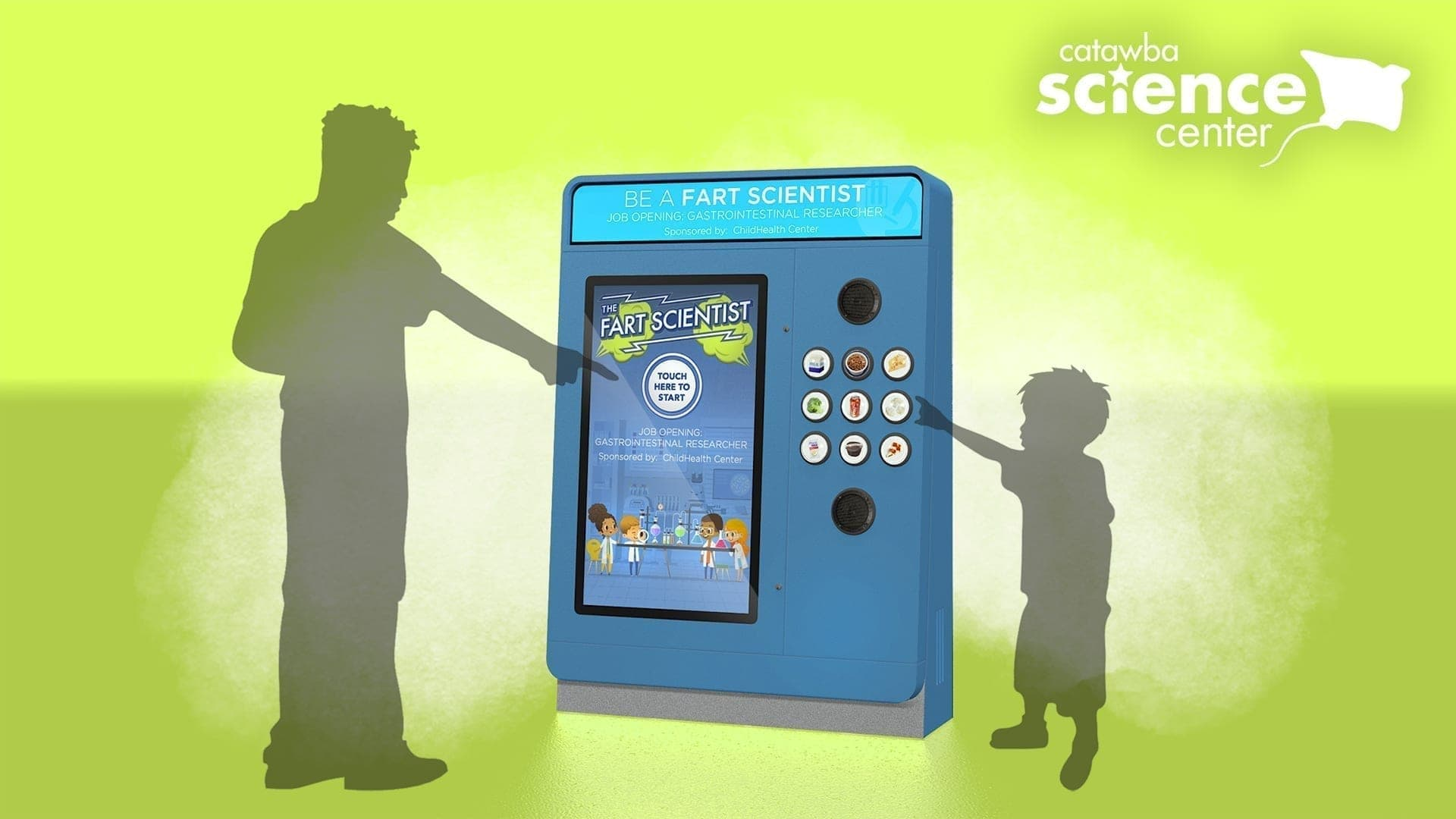 Science Center complete interactive kiosk concept digital graphic rendering