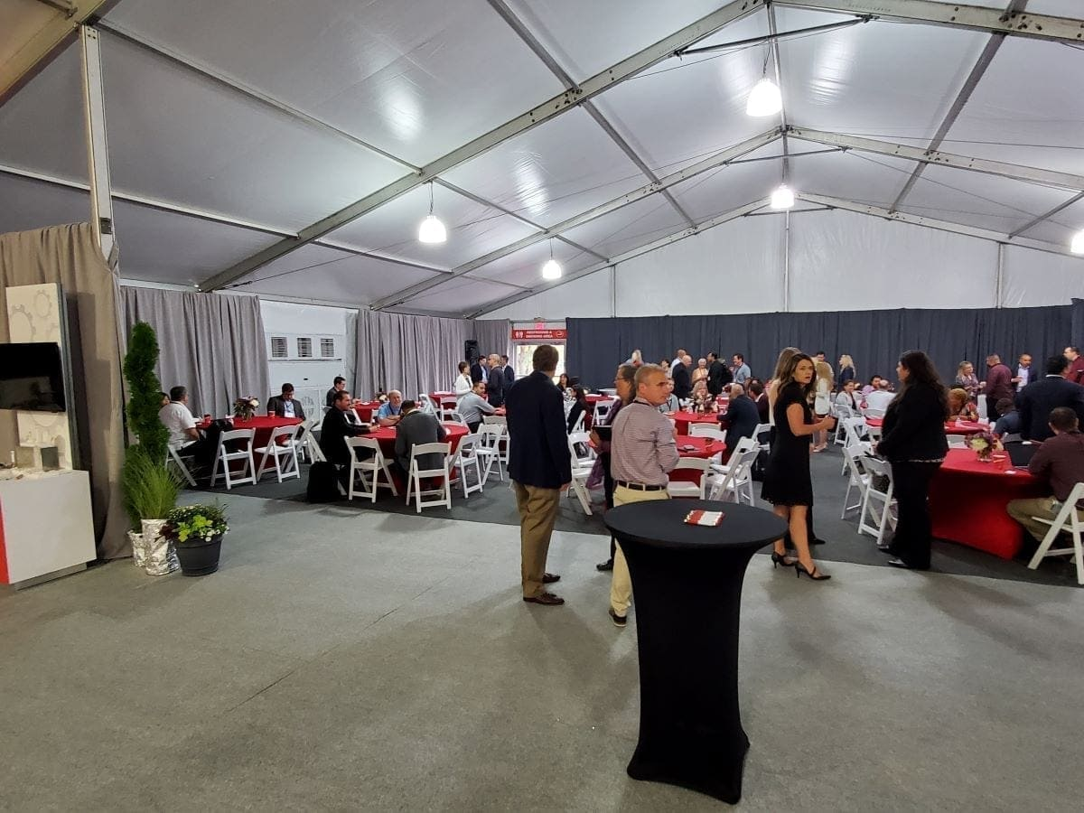 Thermo Fisher Innovation Day networking meetup in temporary corporate event space designed and installed by Holt Environments